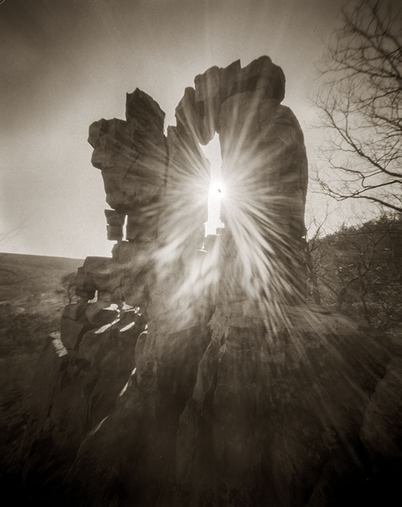 pinhole photo of the devil's doorway rock formation in Devil's lake State Park