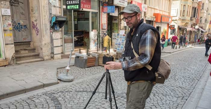 Cameron Gillie taking a pinhole photograph in Istanbul, Turkey