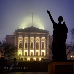 Photos of Madison, Wisconsin . Wisconsin State Capitol and forward statue.