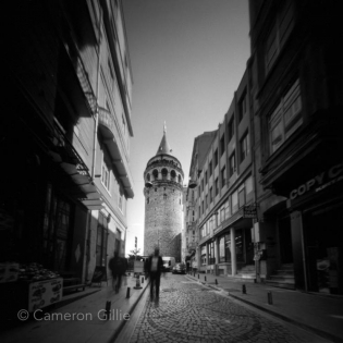 Pinhole photography from Istanbul, Turkey of the Galata Tower.