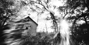 Pinhole photograph of the Chapel of the Oaks in Indian Lake County Park near Madison, Wisconsin.