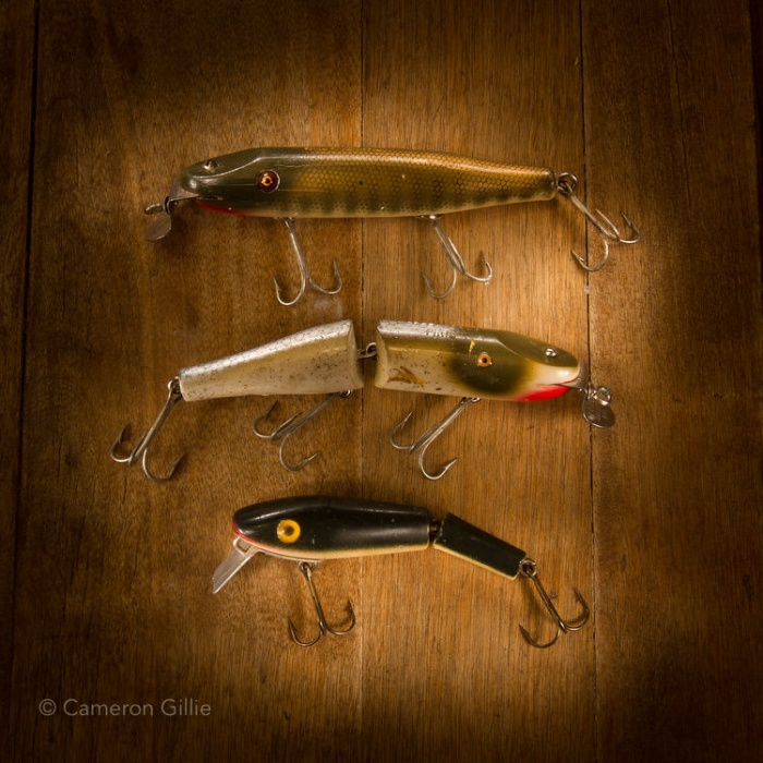 Vintage fishing lures light painted with nothing but a small flashlight.
