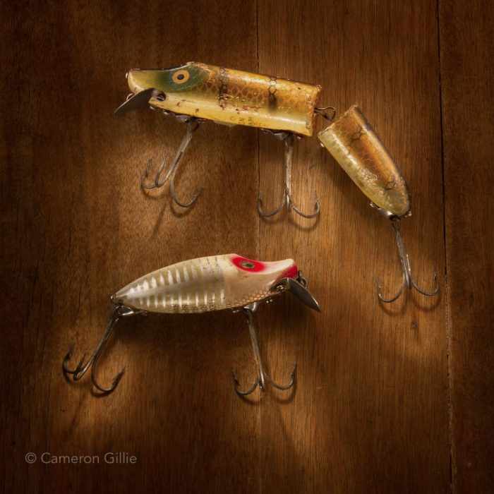 Vintage fishing lures light painting using nothing but a small flashlight to give dramatic light.