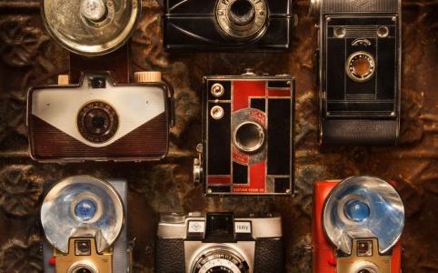 light painted vintage cameras