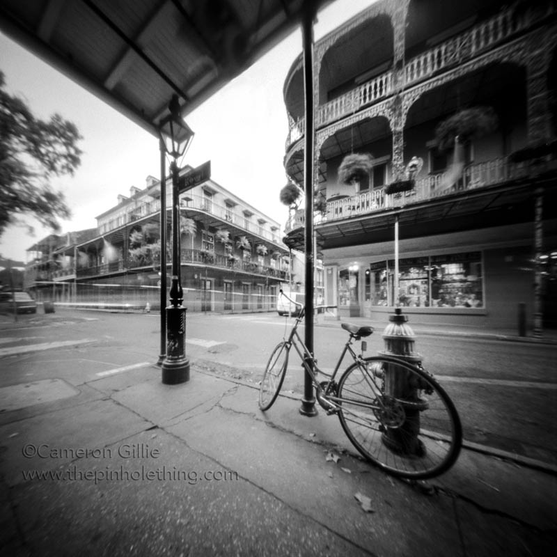pinhole photo of a bike in new orleans