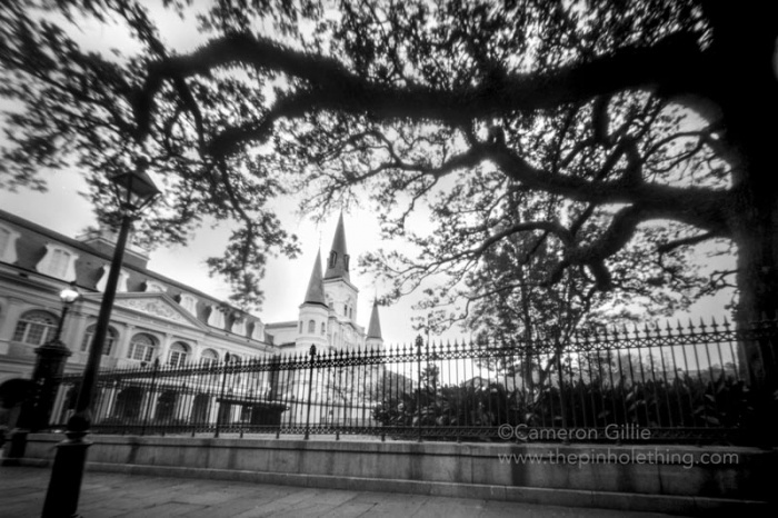 a pinhole photo of the saint louis cathedral in new orleans